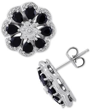 Macy's Onyx & Diamond (1/20 ct. t.w.) Floral Stud Earrings in Sterling Silver