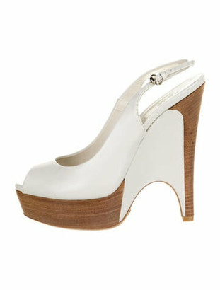 Gucci Leather Slingback Pumps White