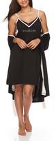 Bebe Women's Sleep Robes BLK - Black Logo Chemise & Robe Set - Women