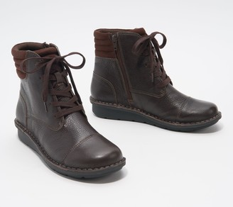 Clarks Collection Leather Lace-Up Ankle Boots - Michela Fold