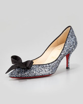 Christian Louboutin Gruotta Glitter Bow Red Sole Pump, Blue