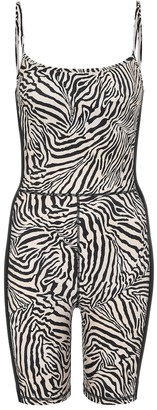 The Upside Spin zebra-print bodysuit