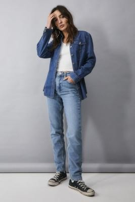 BDG Vintage Blue Recycled Cotton Mom Jeans - Blue 24W 30L at Urban Outfitters
