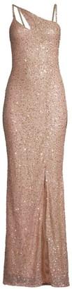 Parker Black Imani Sequin Glitter Front Slit Column Gown