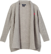 U.S. Polo Assn. Heather Gray Open Cardigan - Girls