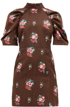 MSGM Open Back Floral Jacquard Dress - Womens - Brown Multi