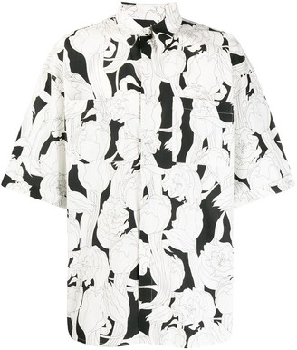 Givenchy Black And White Floral Bowling Shirt