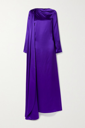 Christopher John Rogers Open-back Draped Silk-charmeuse Gown - Purple
