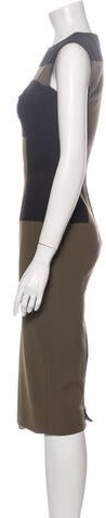 Thumbnail for your product : Victoria Beckham Colorblock Pattern Midi Length Dress Brown