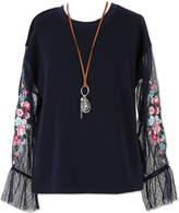 Speechless Long Sleeve Sheer Sleeve Top with Necklace - Girls' 7-16