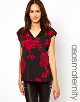 Asos Top with Plunge Neck in Rose Print