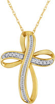 JCPenney FINE JEWELRY 1/5 CT. T.W. Diamond 10K Yellow Gold Cross Pendant Necklace