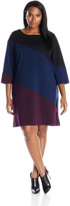 Taylor Dresses Women's Plus-Size Color Block Aline Dress