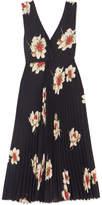 Vince Pleated Floral-print Crepe Midi Dress - Navy