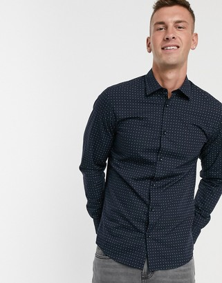 Selected BCI cotton slim fit dotted print shirt-Navy