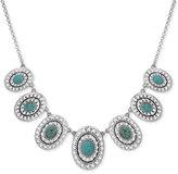 Lucky Brand Silver-Tone Decorative Oval Stone Collar Necklace