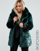 Asos Coat in Green Plush Faux Fur