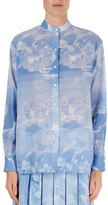 Victoria Beckham Cloud-Print Band-Collar Blouse