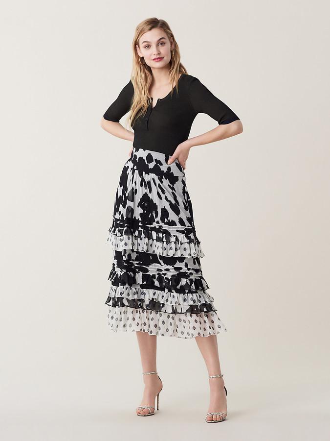 Diane von Furstenberg Poppy Ruffled Cotton-Silk Midi Skirt