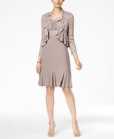 R & M Richards Metallic A-Line Dress and Ruffled Jacket