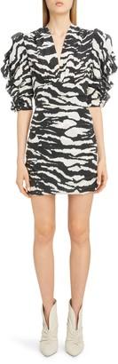 Isabel Marant Zebra Print Puff Sleeve Stretch Silk Minidress