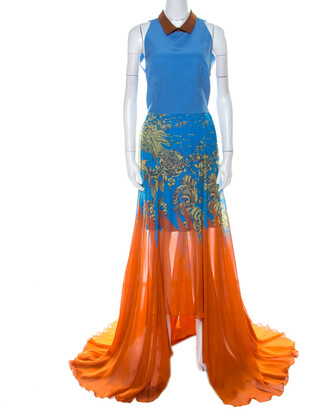 Matthew Williamson Blue & Orange Printed Chiffon Dress With Organza Top L