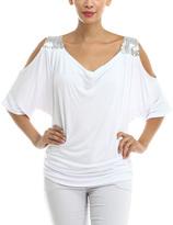 Magic Fit White Embellished Cold Shoulder Top