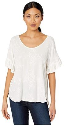 Karen Kane Ruffle Sleeve Top (Cream) Women's Clothing