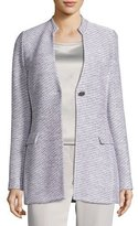 St. John Gyan Knit V-Neck Jacket, White/Gray