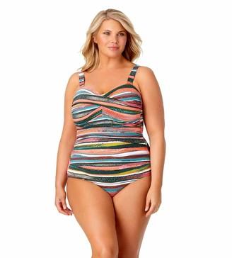 Anne Cole Women's Plus Size Twist Front Shirred One Piece Swimsuit