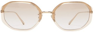 Linda Farrow Tyler Hexagonal Acetate And Titanium Sunglasses - Clear