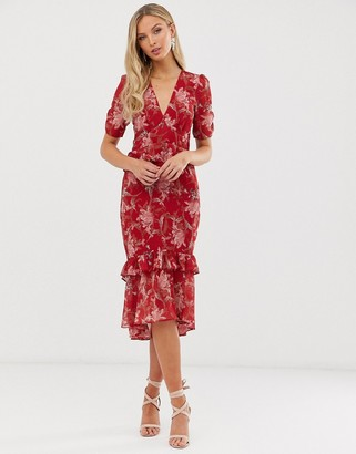 Hope & Ivy floral short sleeve ruffle detail midi dress