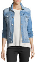 Mother Star Bruiser Button-Front Faded Denim Jacket