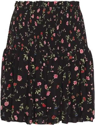 Ganni Elm Shirred Floral-print Georgette Mini Skirt