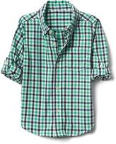 Check button-down convertible shirt