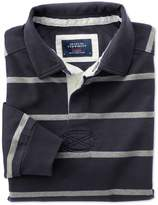 Charles Tyrwhitt Navy and Grey Stripe Cotton Rugby Shirt Size Large