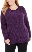 Karen Scott Plus Size Cable-Knit Chenille Sweater, Created for Macy's