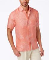 Tasso Elba Linen Leaf Jacquard Short-Sleeve Shirt, Only at Macy's