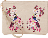 Oasis Kimono Embroidered Clutch Bag, Mid Grey