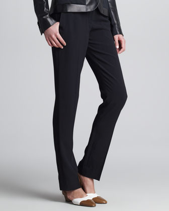 The Row Rander Classic Flat-Front Pants, Black
