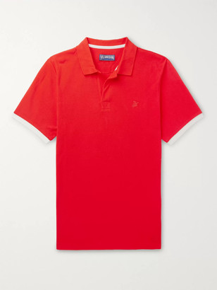 Vilebrequin Palatin Slim-Fit Contrast-Tipped Cotton-Pique Polo Shirt - Men - Red