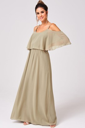 Girls On Film Motion Khaki Chiffon Cold Shoulder Maxi Dress