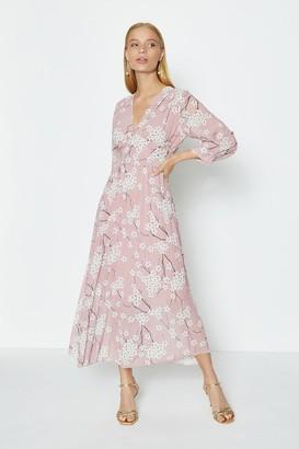 Coast Printed V-Neck Pleated Skirt Midi Dress
