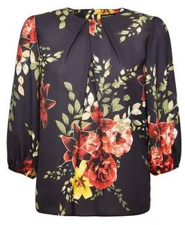 Dorothy Perkins Womens Black And Red Floral Print Blouse, Black