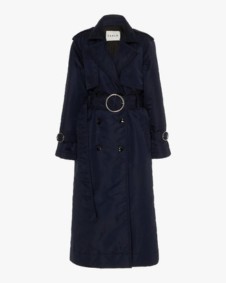 Caalo Navy Down Filled Satin Trench