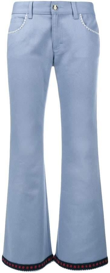 Gucci crochet trim flared jeans