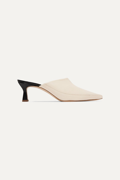 Wandler Bente Two-tone Textured-leather Mules - Off-white