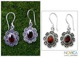 Floral Garnet Sterling Silver Earrings, 'Bright Blossom'
