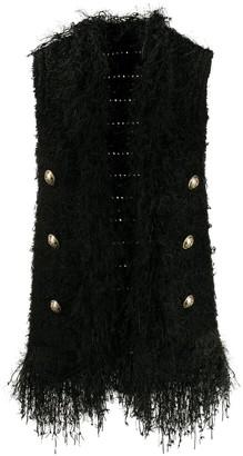 Balmain fringed tweed waistcoat