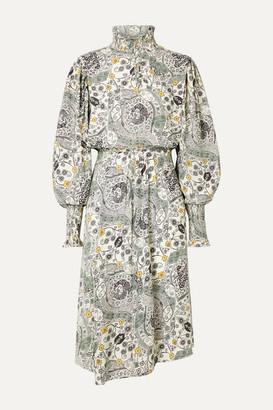 Etoile Isabel Marant Cescott Ruffled Printed Crepe De Chine Midi Dress - Ecru